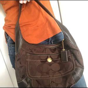 Coach signature brown hobo shoulder bag